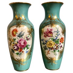 Pair of French Aquamarine Floral Painted Porcelain Vases