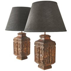 Pair of French Archaic Chinese Style Iron Lamps, circa 1950