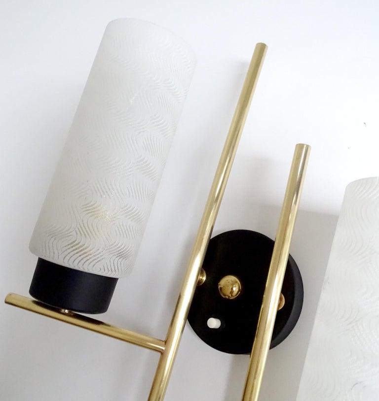 Pair of French  Midcentury Lunel Glass Brass Sconces, Stilnovo Gio Ponti Era For Sale 7