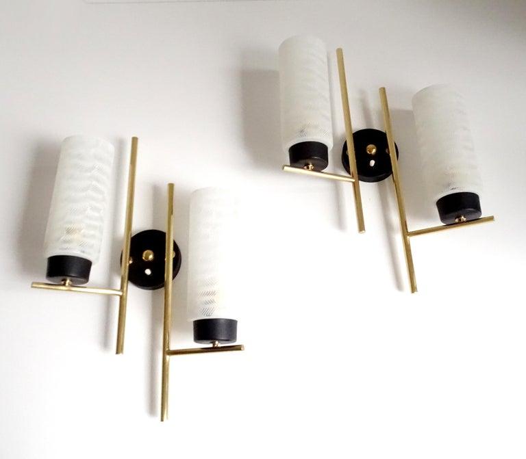 Mid-20th Century Pair of French  Midcentury Lunel Glass Brass Sconces, Stilnovo Gio Ponti Era For Sale