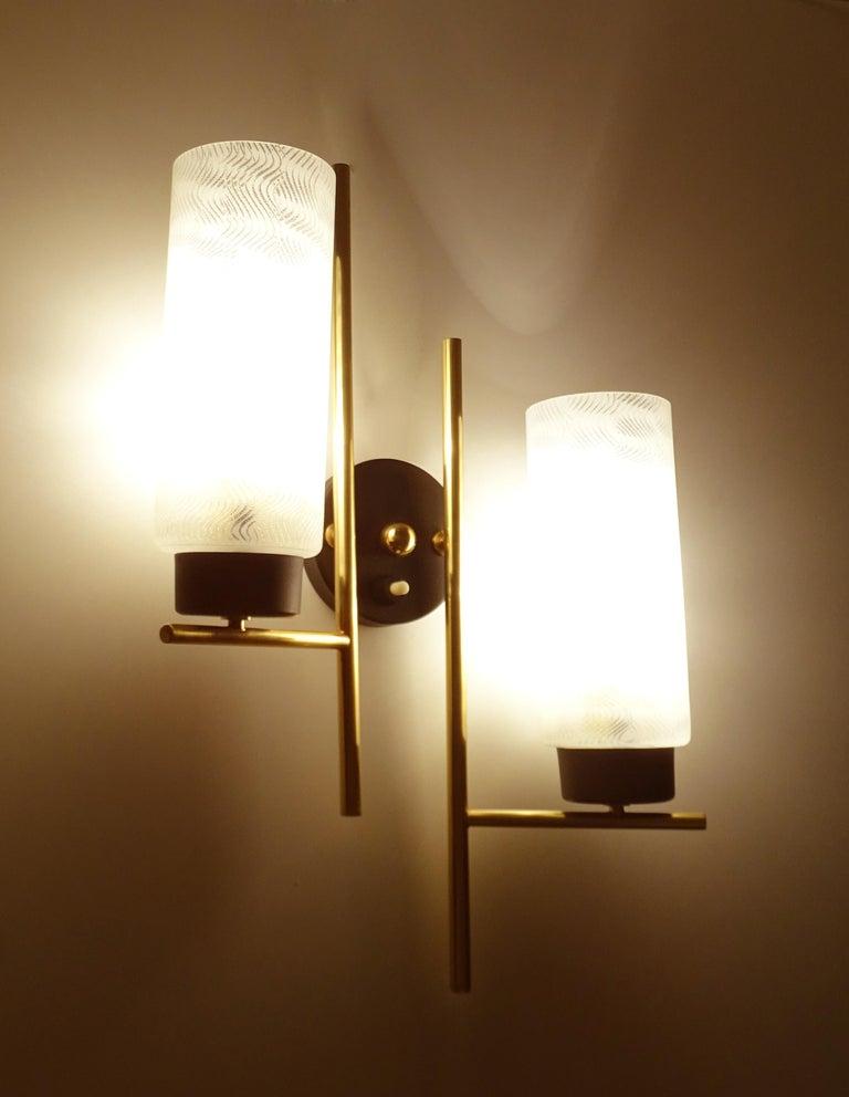 Steel Pair of French  Midcentury Lunel Glass Brass Sconces, Stilnovo Gio Ponti Era For Sale