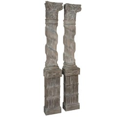 Pair of French Architectural Corinthian Weathered Oak Hand-Carved Columns