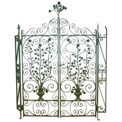 Pair of French Architectural Painted Wrought Iron Gates Sculptures Panels