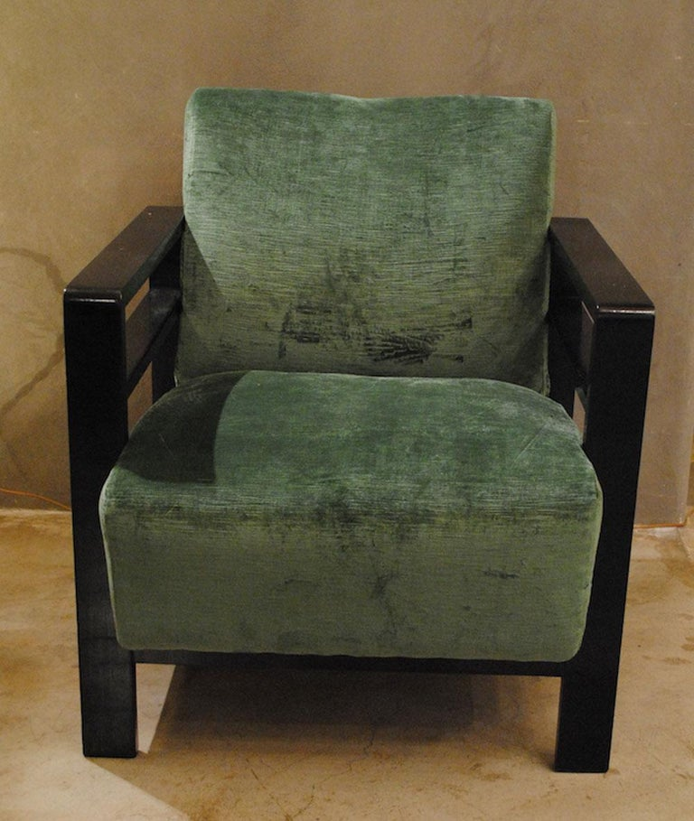 Pair of French armchairs belonging to the rationalist current 1940s totally restored in double colors velvet.