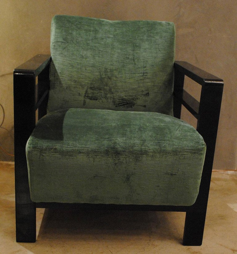 Minimalist Pair of French Armchairs Belonging to the Rationalist Current, 1940s For Sale