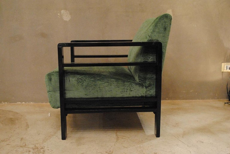 Velvet Pair of French Armchairs Belonging to the Rationalist Current, 1940s For Sale