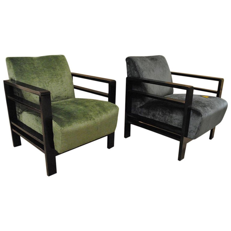 Pair of French Armchairs Belonging to the Rationalist Current, 1940s For Sale
