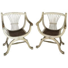 Pair of French Armchairs Fauteuil White Carved Back Early 1900s Antique Empire