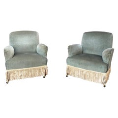 Pair of French Armchairs in Green Velvet