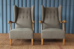 Pair of French Armchairs in Oak, 1940s