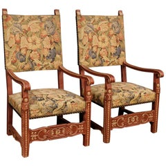 Pair of French Armchairs in Painted Wood, 20th Century
