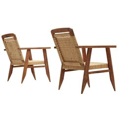 Pair of French Armchairs in Teak and Sisal Rope