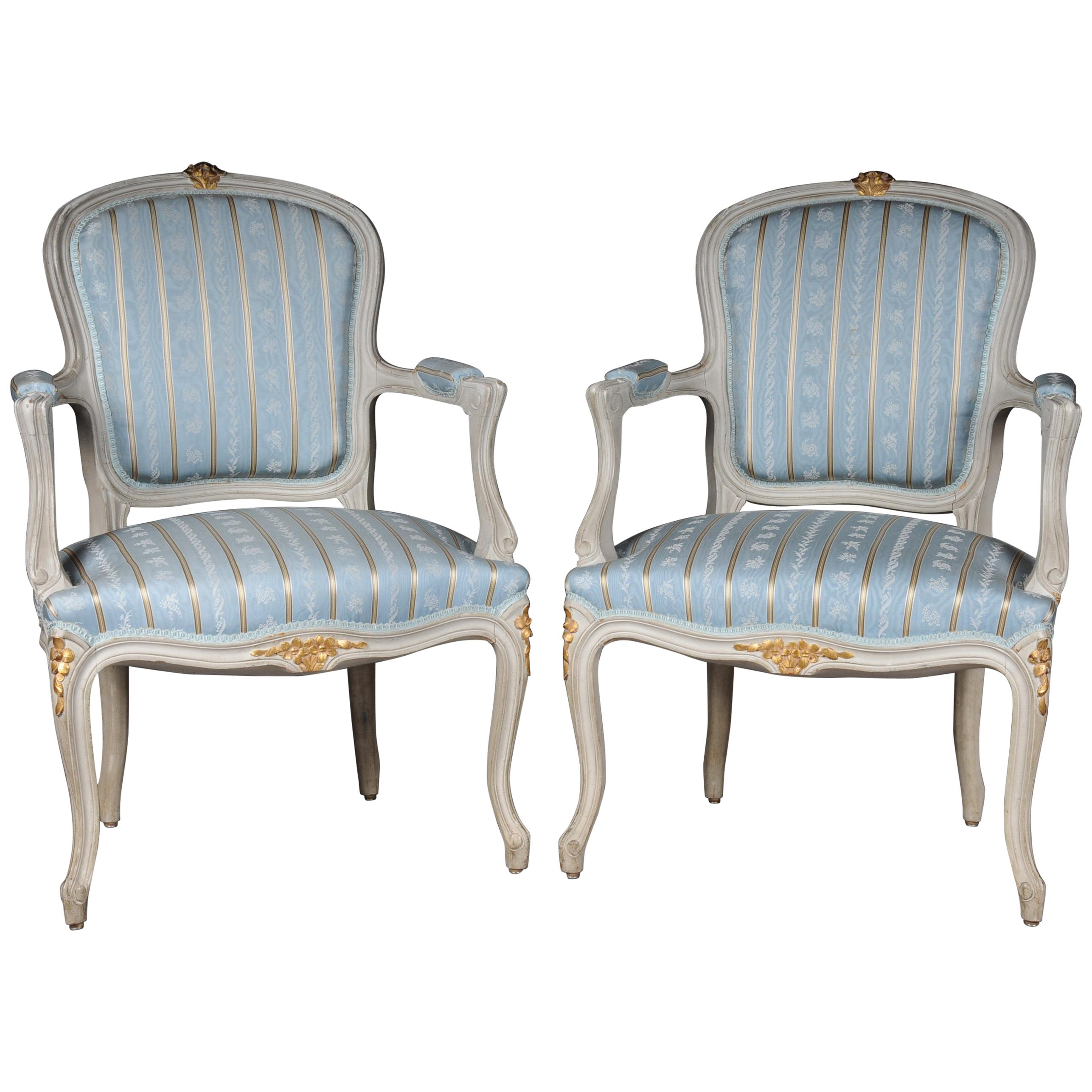 Pair of French Armchairs Louis XV Chairs, 20th Century