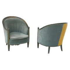 Pair of French Armchairs of the Early '900 in Green and Yellow Velvet