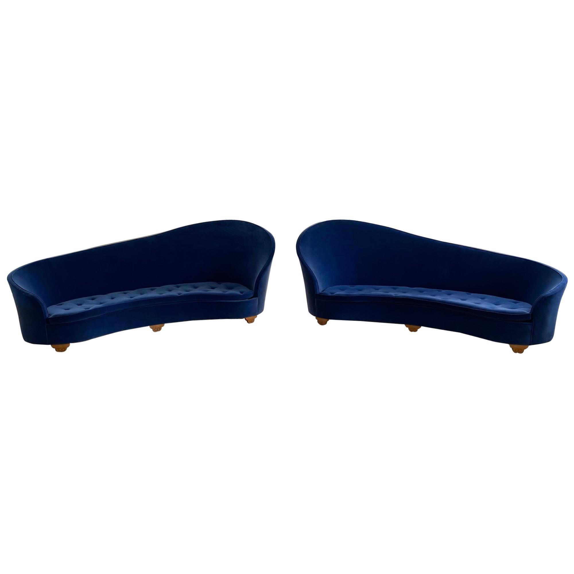 Pair of French Art Deco 1930s Blue Velvet Sofa's