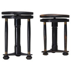 Pair of French Art Deco Adjustable Piano Stools, 1930s