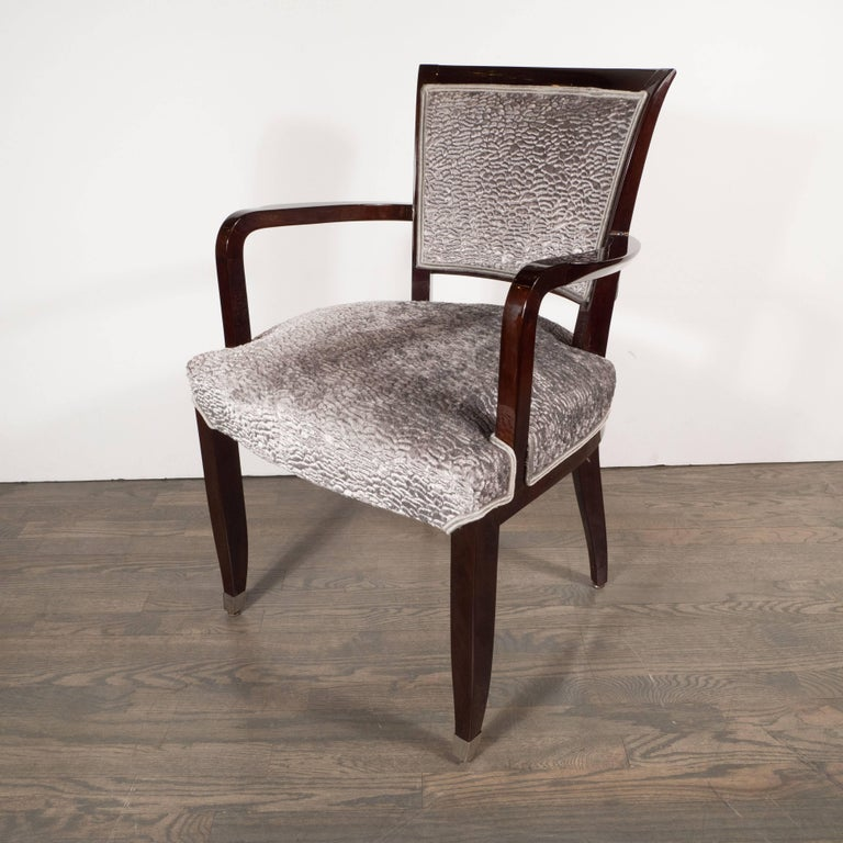 Pair of French Art Deco Armchairs in Mahogany by Jules Leleu For Sale 1