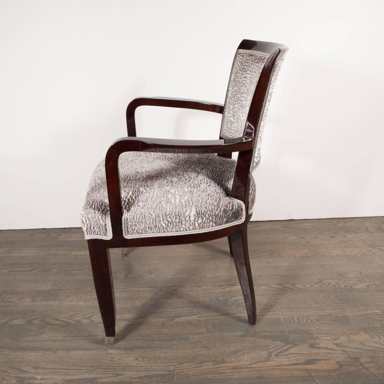 Pair of French Art Deco Armchairs in Mahogany by Jules Leleu For Sale 2
