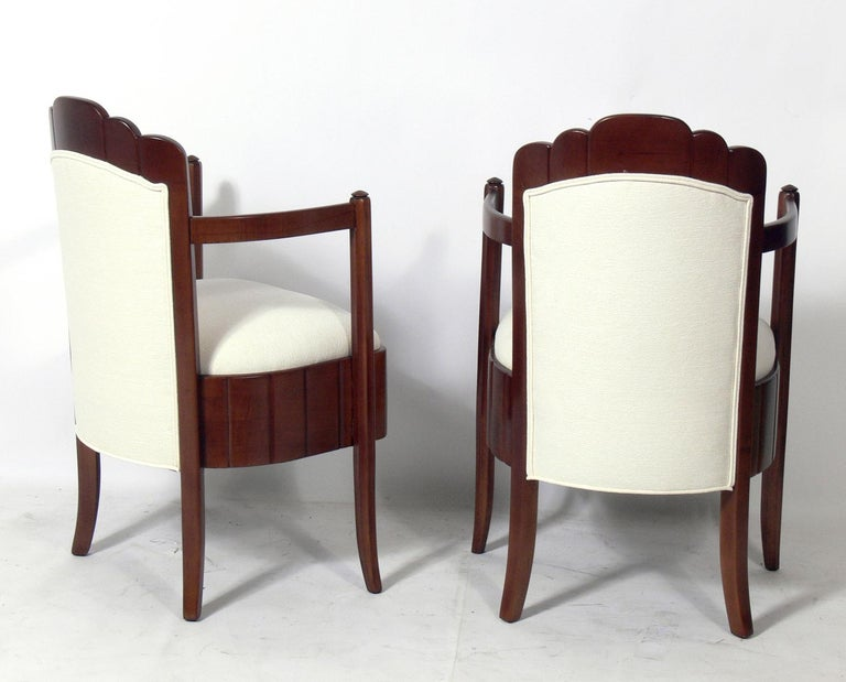 Mid-20th Century Pair of French Art Deco Armchairs by Pierre Patout for the Ile de France For Sale