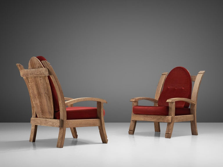 Mid-20th Century Pair of French Art Deco Armchairs in Solid Oak For Sale