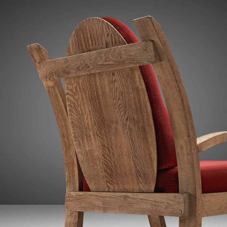 Fabric Pair of French Art Deco Armchairs in Solid Oak For Sale