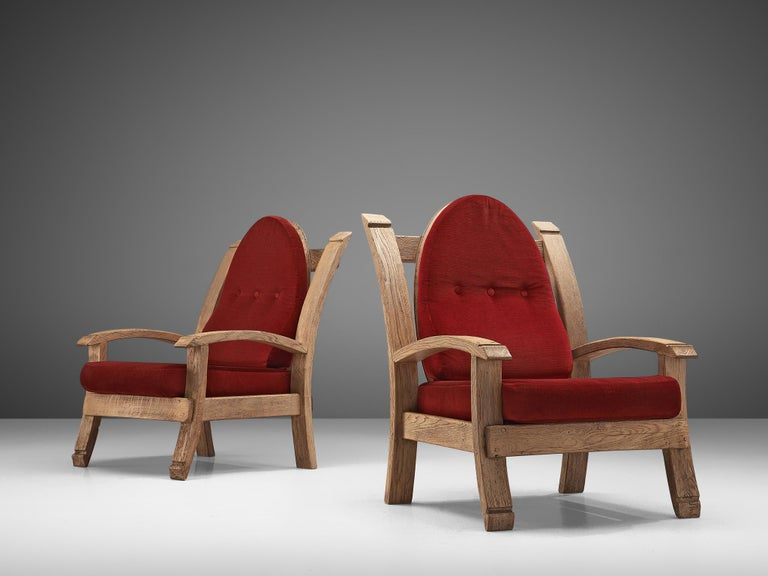 Pair of French Art Deco Armchairs in Solid Oak For Sale 2