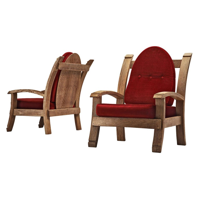 Pair of French Art Deco Armchairs in Solid Oak For Sale