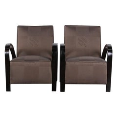 Pair of French Art Deco Armchairs Louis Vuitton Upholstery