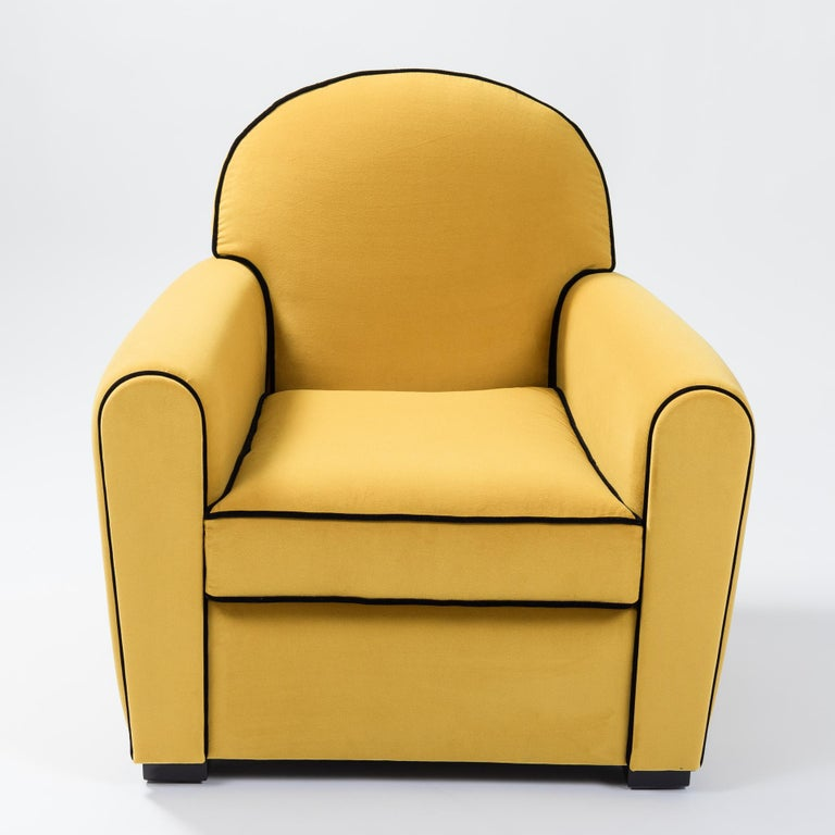 Lacquered Pair of French Art Deco Armchairs Re-Upholsterd Mustard-Colored Cotton Velvet For Sale