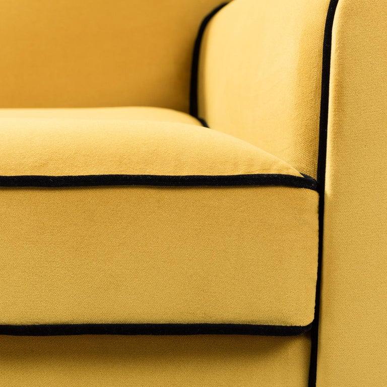 Early 20th Century Pair of French Art Deco Armchairs Re-Upholsterd Mustard-Colored Cotton Velvet For Sale