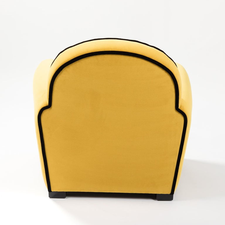 Pair of French Art Deco Armchairs Re-Upholsterd Mustard-Colored Cotton Velvet For Sale 3