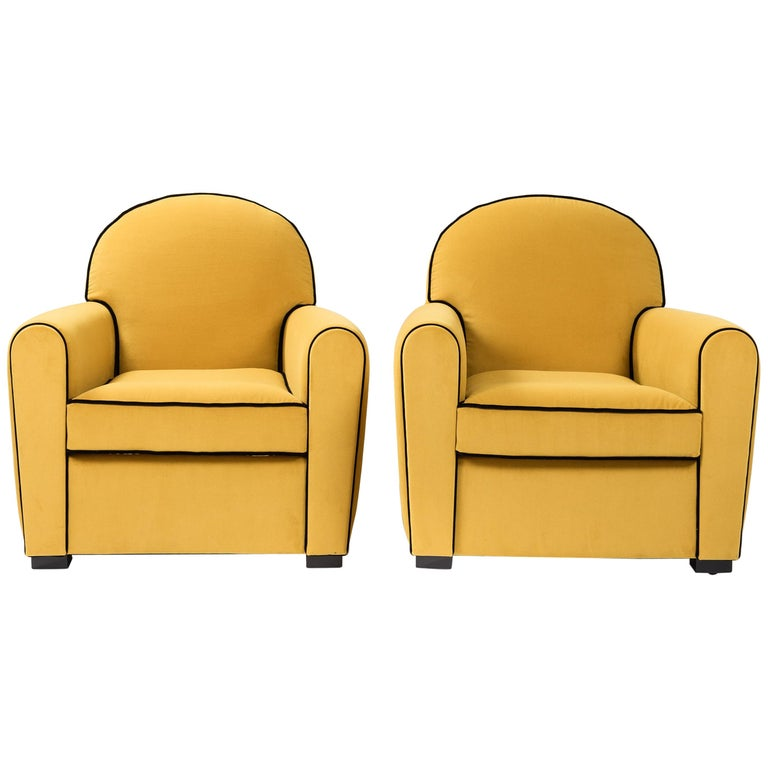 Pair of French Art Deco Armchairs Re-Upholsterd Mustard-Colored Cotton Velvet For Sale