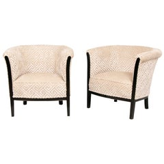 Pair of French Art Deco Armchairs with Black Lacquer Frames Salon Chairs