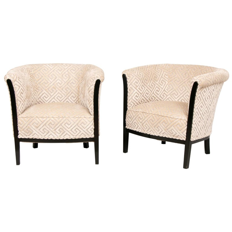 Pair of French Art Deco Armchairs with Black Lacquer Frames Salon Chairs For Sale