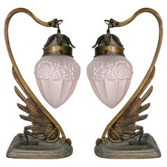 Pair of French Art Deco & Art Nouveau Ornate Bronze, Glass Flower Table Lamps