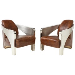 Pair of French Art Deco Aviator Armchairs in Chrome and Leather