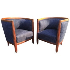 Pair of French Art Deco Barrel Club Chairs.