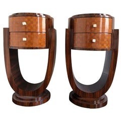 Pair of French Art Deco Bedside Tables Coromandel Wood Laminate Circular Shape