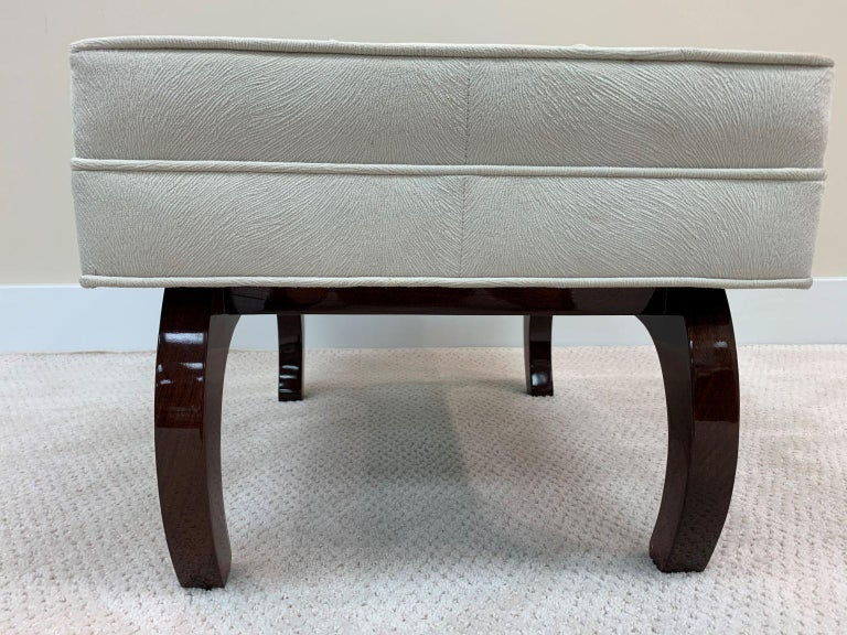 20th Century Pair of French Art Deco Benches in Walnut For Sale