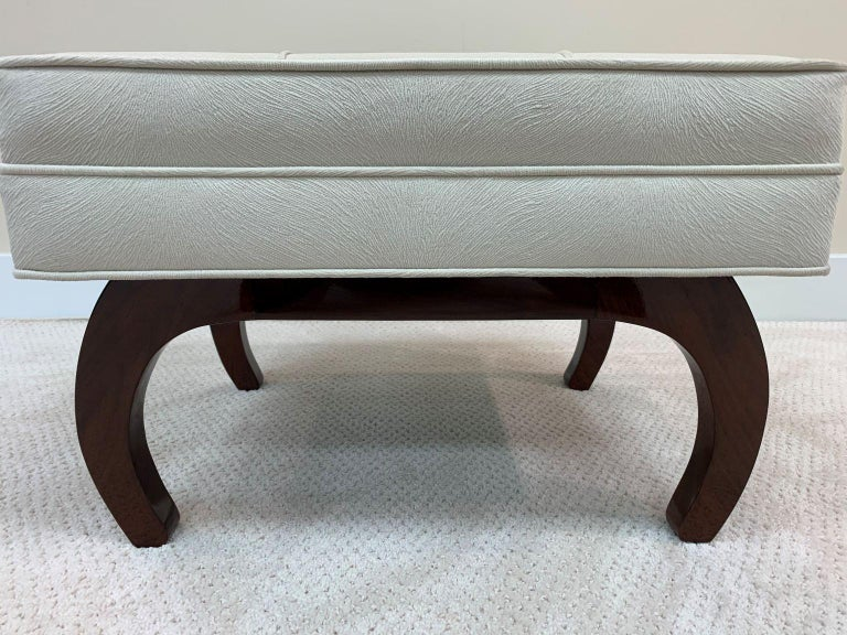Faux Fur Pair of French Art Deco Benches in Walnut For Sale
