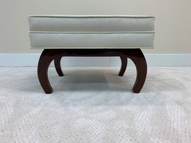 Pair of French Art Deco Benches in Walnut For Sale 2