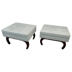 Pair of French Art Deco Benches in Walnut