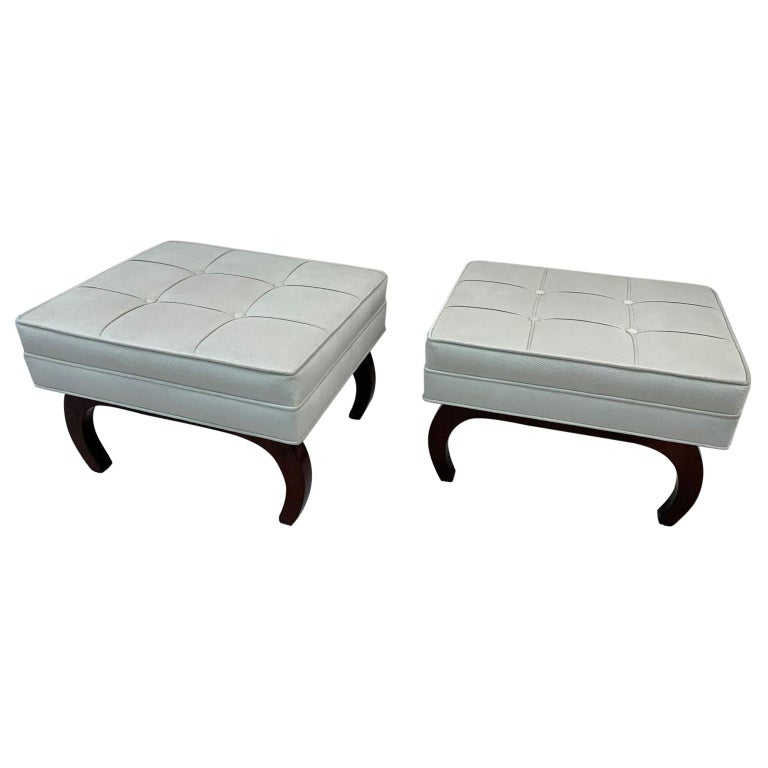 Pair of French Art Deco Benches in Walnut For Sale