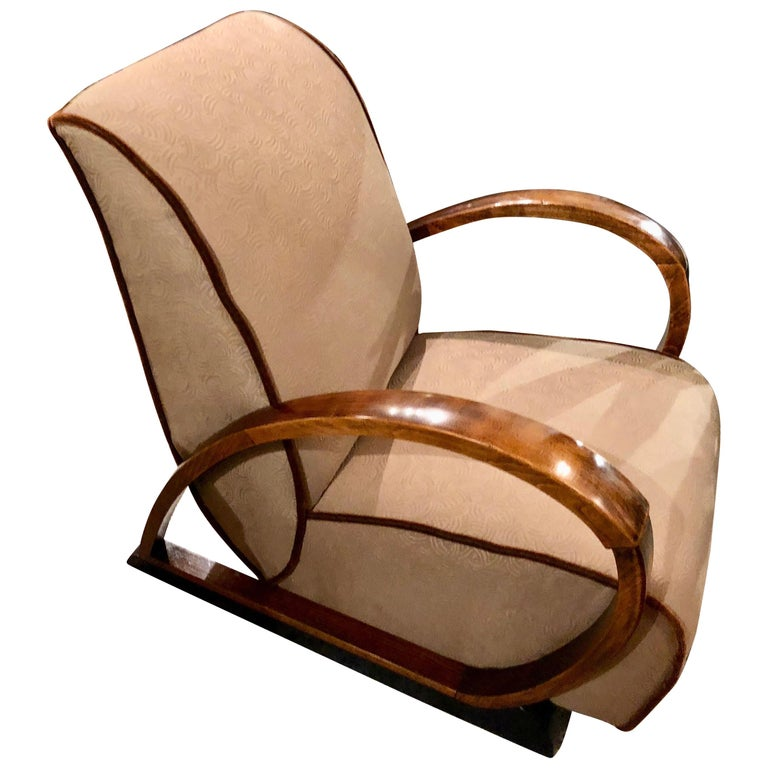 Unique Upholstered Chairs: Pair Of French Art Deco Bent Wood Custom Upholstered