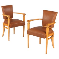Pair of French Art Deco Birchwood Bridge Armchairs, 1930s