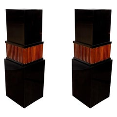 Pair of French Art Deco Black Lacquer & Fluted Walnut Skyscraper Style Pedestals