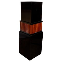 French Art Deco Black Lacquer & Fluted Walnut Skyscraper Style Pedestal