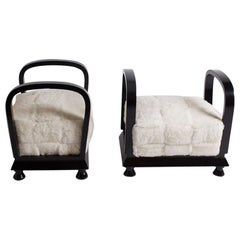 Pair of French Art Deco Black Lacquer and White Sheepskin Benches, circa 1930s
