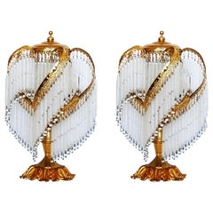 Pair of French Art Deco Brass Cascading Etched Glass Rod Table Lamps