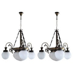 Pair of French Art Deco Brass Frosted Glass in High Relief Four-Light Chandelier